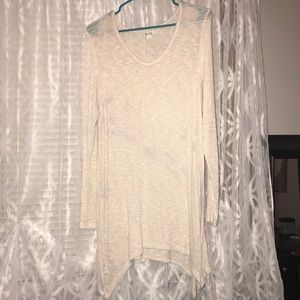 Cream scoopneck sweater tunic